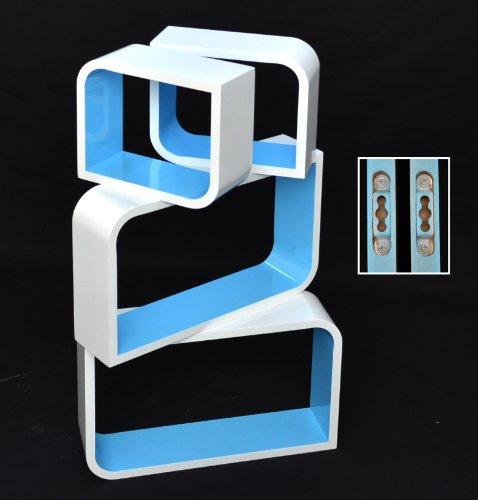 Ts-Ideen 7141 - Set mensole da parete in stile retrò anni 70, 2 angoli retti e 2 angoli arrotondati, colore: Blu/Bianco