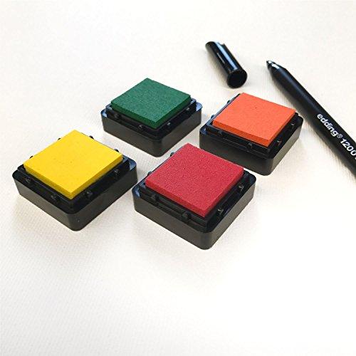 KATINGA Stempelkissen (4er Set) Herbst INKL. Stift für Fingerabdrücke, Zum Basteln und Zum kreativen Gestalten (Herbst Farben)