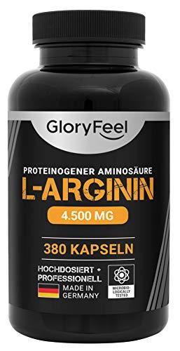 GloryFeel® L-Arginin 380 Kapseln - Vergleichssieger 2019* - 4500mg L-Arginin HCL (3750mg reines L-Arginin) Hochdosiert pro Tagesdosis - Laborgeprüft und Hergestellt in Deutschland
