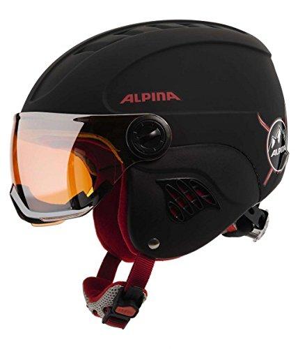 Alpina Kinder Carat LE Visor HM Skihelm, Black-Red Matt, 51-55 cm
