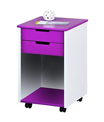Inter Link Rollcontainer Schubladenschrank Bürocontainer Holzkommode Massivholz und MDF Magenta und...