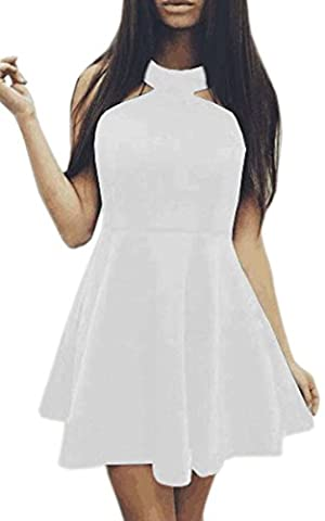 ECOWISH Womens Sleeveless O Neck Party Club Cocktail Skater Plated Swing Dress