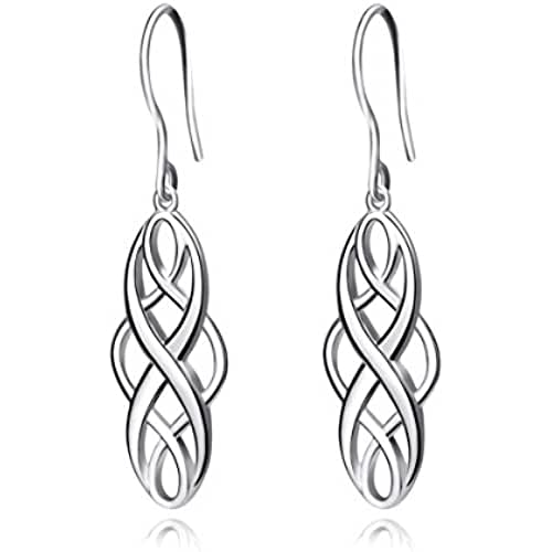 ofertas para el dia de la madre Pendientes con nudo celta de plata 925,joya para mujer
