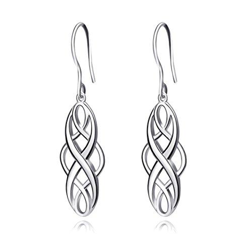 Damen-Ohrringe Sterling Silber keltischer Knoten Hängende Tropfen Ohrringe (ohrringe silber) (Ohrring Keltische)