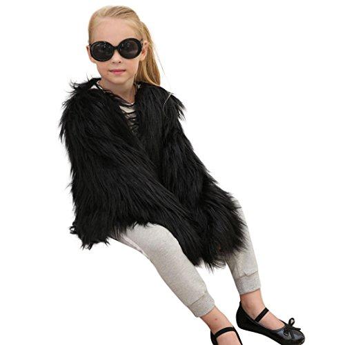 LCLrute Neue nette Kinder Baby Mädchen Herbst Winter Faux Pelz Mantel Jacke Dicke Warm Outwear Kleidung (140, Schwarz)