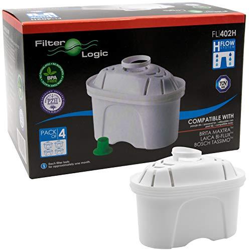 FilterLogic FL402H | 4er Pack Filterkartuschen für Tischwasserfilter, kompatibel mit Brita Maxtra Wasserfilter Kartuschen für Marella Elemaris / Filter für TASSIMO T45 Joy T55 Charmy Fidelia Caddy