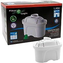 FilterLogic FL402H - 4 unidades - cartucho de filtro compatible con BRITA Maxtra para Elemaris /
