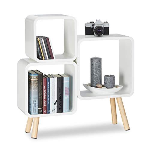 Relaxdays Regalsystem Cube mit 4 Beinen, Bücherregal Holz, Würfelregal im Retro Design, MDF, HBT: 70 x 67 x 20 cm, weiß (4 Regal Bücherregal Mdf)