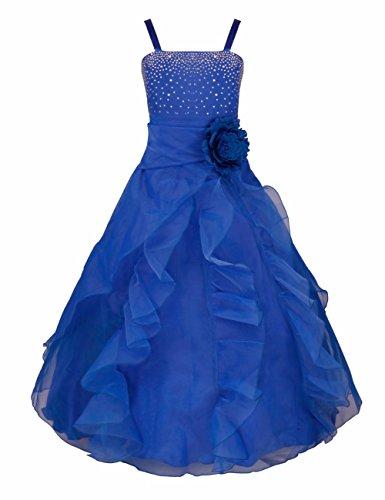iEFiEL Mädchen Kinder Kleider Festlich Lang Brautjungfern Kleid Prinzessin Hochzeit Party Kleid Gr. 92-164 Blau 116