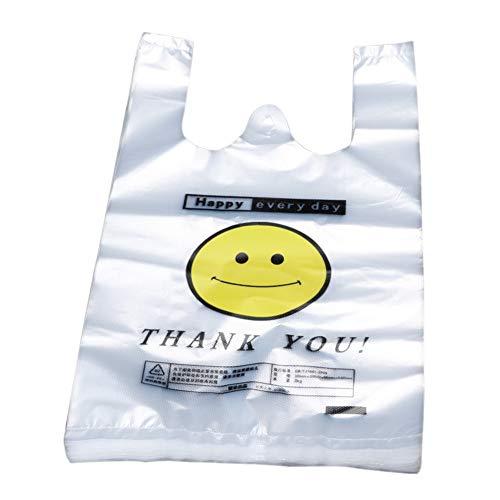 Achidistviq 50pcs lovely smiley transparent shop cibo supermercato shopping bag con borsa handletransparent gilet comodo gilet smiley sacchetto di plastica, polietilene, 20x32cm