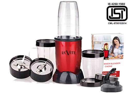 La Vite Cherie -Compact Powerful Mixer Grinder Blender - 3 Jars & 2 Detachable Blades (Download Free Recipe E-Book) - BIS Approved- ISI Mark