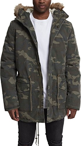 Urban Classics Herren Garment Washed Camo Parka, Mehrfarbig (Wood 396), Medium Camo Parka