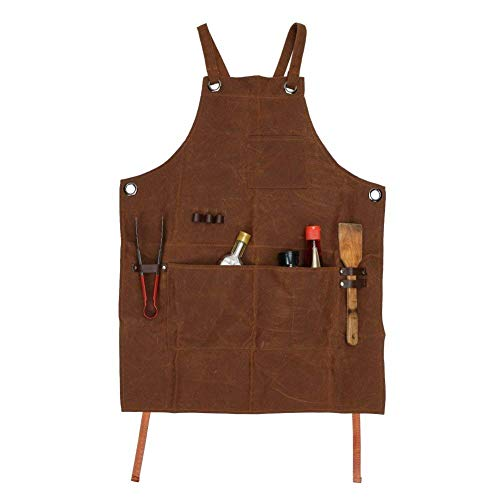 Delantal de trabajo, multiusos, de lona encerada, impermeable, resistente al aceite, con bolsillos para herramientas, para carpintería, manualidades, pintura, CS-WQ46