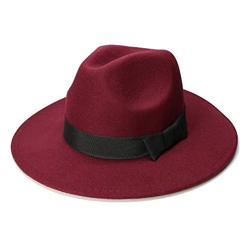 Hat Sonnenhüte Big Size for Damen Herren Fedora Hut Wolle Sombrero Fedora Panama Jazz Hut Black Ribbon (Farbe : Weinrot, Größe : 59-61CM) - Panama Sombrero