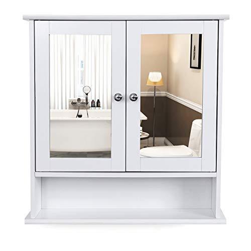 VASAGLE Armario baño Puerta Doble Espejo, Armario