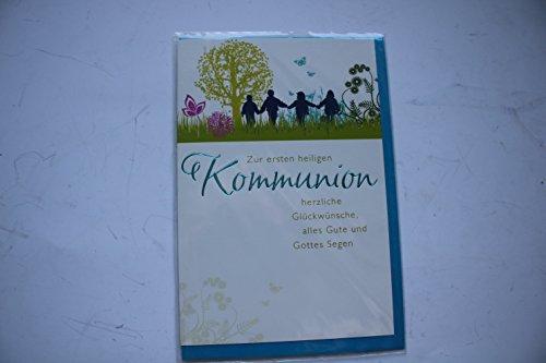 Kommunionkarte GlückwunschkarteZur ersten hl. Kommunion herzlichen Glückwunsch 'Kommunionkarte Karte mit Umschlag blau