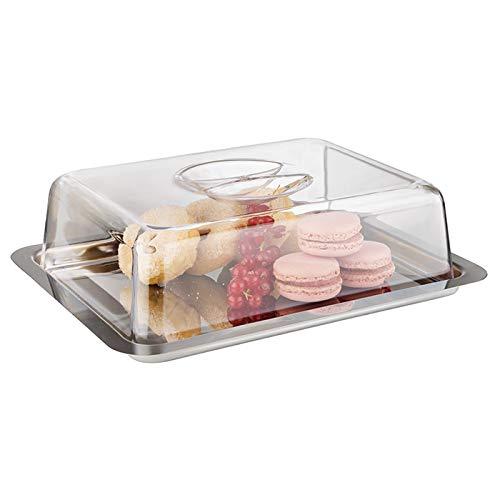 APS Frischhaltebox - hochwertiges Serviertablett mit Haube Made in Germany - langlebig, stapelbar, Nicht spülmaschinenfest und aus rostfreiem Edelstahl - 25 x 19 x 7cm