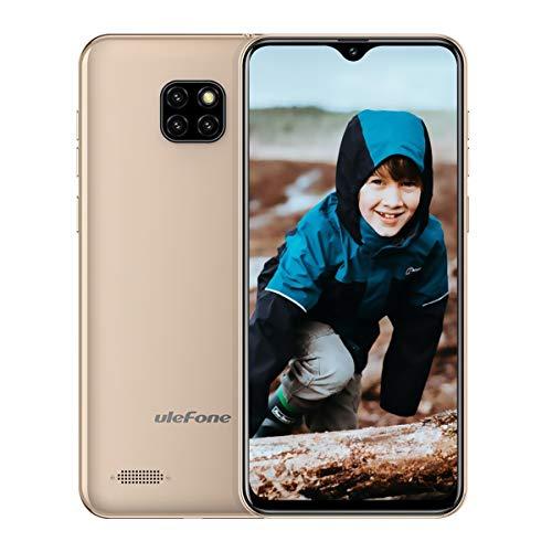 Ulefone Note 7 (2019) Handy ohne Vertrag DREI Kameras DREI Kartensteckplatz, 6,1 Zoll 16 GB Speicher, Dual SIM Android Smartphone Günstig, Face Unlock, 3500mAh - Gold (Global Version) (Entsperren Ohne Vertrag-handys)