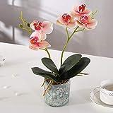Alicemall Fleur Artificiel Orchidée Tissu en Pot Céramique pour Décoration de la Maison Bureau Chambre 12x12x30 cm (Rose pâle)