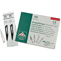 Lot de 10 lames de scalpel - Lames bistouri N° 11 - Lame chirurgicale stérile fabriquée en acier au carbone pour Manche de scalpel n°3 - emballés individuellement dans stériler Manche de scalpel n°3 - emballés individuellement dans stérile