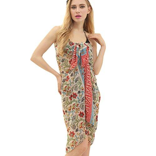 Vobaga Damen Sarong Pareo Wickelrock Strandtuch Strandkleid mit floralem Cover-up Y76
