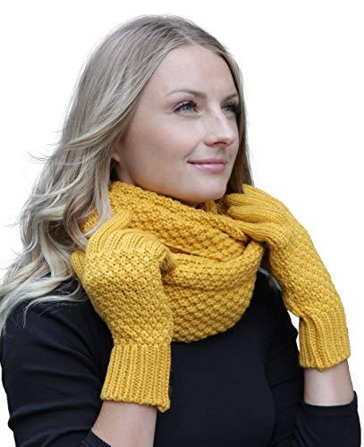 Hilltop Winter Kombi Set aus Winter Schal und wahlweise Handschuhe oder Handwärmer, 2-tlg, versch. Farben, WS Farbe/Zusammensetzung:Curry mit Handschuhen -