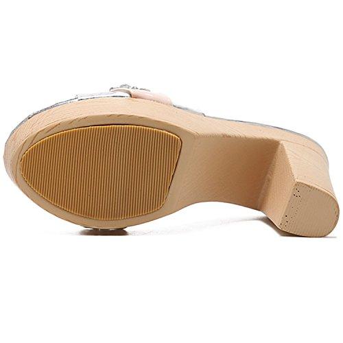 Oasap Women's Platform Block Heels Slip-on Transparent Rhinestone Sandals apricot