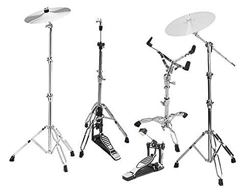 XDrum HP-Pro5 Hardware Pack 5-tlg (Galgenbeckenständer, gerader Beckenständer, Snare Drum-Ständer, Single Fußmaschine, Profi (Cymbal Stand Pack)