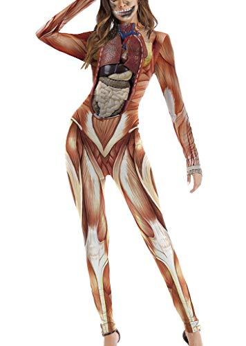 Jixin4you Damen Frauen Halloween Cosplay Bodysuit -Jumpsuit Overall Weihnachten Halloween kostüm S/M Muskel