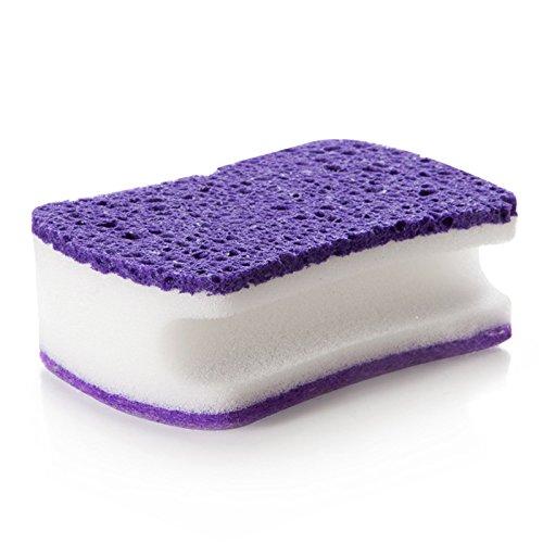 Beautop Mehrzweck-Schwamm, 3Ebenen, kratzfest, Schwamm für Küche und Bad 10.5x6.5x4cm violett - Kommerzielle Ebene