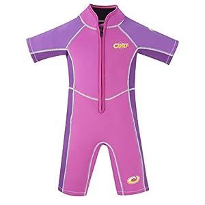 Osprey Muta corta per bambini, estiva, con protezione SPF 50+, ragazza, Shorty Oyster SPF 50 Plus 3/2 mm, Pink