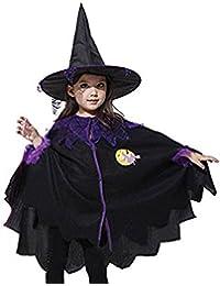 BININBOX® Kinder Karneval Fasching Halloween Cosplay schwarzes Hexe Schamanin Kleid Theateraufführung Kostüm mit Hut ohne Besen