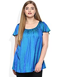 8649380a307bc QURVII Silk Short Sleeves Round Neck Swing Top