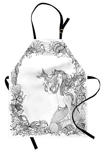 ABAKUHAUS Meerjungfrau Kochschürze, Meerjungfrau in Artsy Seashells Seestern Coral Reef Rahmen Alten Kultur Mythos Artwork, Farbfest Höhenverstellbar Waschbar Klarer Digitaldruck, Weiß Grau