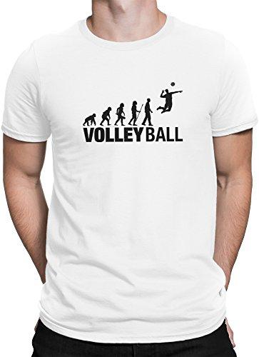 vanVerden Herren T-Shirt Volleyball Evolution Shirt Volley Ball Fan Sport Shirt, Größe:M, Farbe:Weiß