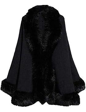Mujer Poncho De Piel Elegante Color Sólido Sintético Piel Cardigan Poncho Invierno Elegantes Moda Especial Estilo...