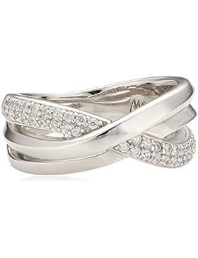 Merii Damen-Ring 925 Sterling Silber rhodiniert Zirkonia weiß