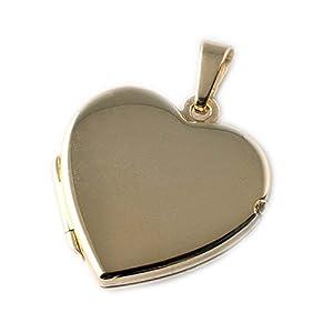 ASS 333 Gold Medaillon Anhänger Foto Herz zum Öffnen, Gelbgold,glanz,16,5mm