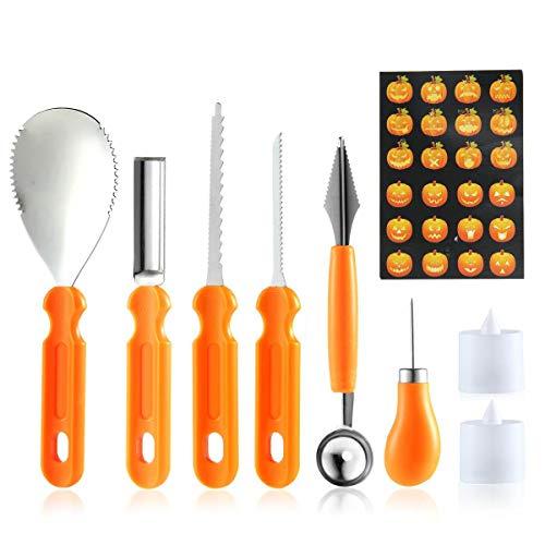 tzset, Edelstahl, Kürbis-Schnitzwerkzeug, Halloween-Modellierset, professionelles Kürbis-Schablonen-Set für Jack-O-Lanterns ()