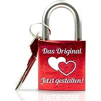 Geschenkfreude ABUS personalisiertes Liebesschloss mit Gravur und Schlüssel wahlweise mit Geschenkverpackung/Liebesschloss Gravur/ideales Hochzeitsgeschenk/Herzschloss rot