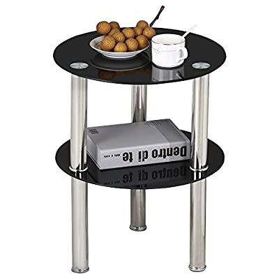 Popamazing Black Small Round Glass 2 Tier Sofa Side Table Stainless Steel Legs with Storage Shelf - low-cost UK light shop.