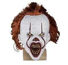 Idea Regalo - LED Maschera di Halloween Spaventosa Pagliaccio Divertente Creepy Horror Pennywise Costume Overhead Mask (Bianco, OneSize)