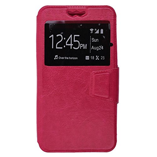 Shopme Premium PU Leather Flip cover for Panasonic P81 (PINK COLOR ) (Slider for Taking Snaps, Caller ID Window,100% Camera Protection)  available at amazon for Rs.299