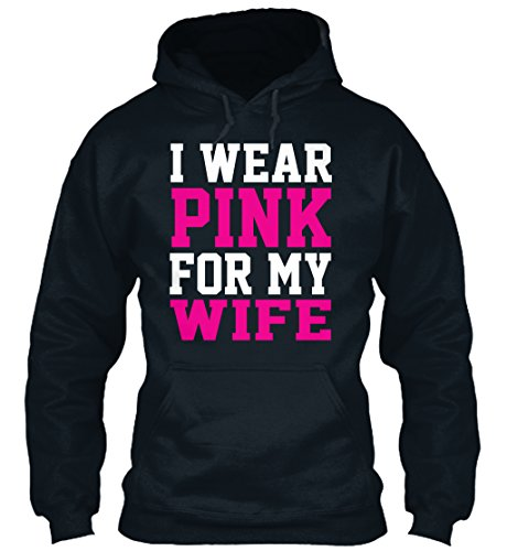 Bequemer Hoodie Damen / Herren / Unisex 2XL Breast Cancer Awareness Wife T-Shirt Dunkelblau (Cancer Kleidung Awareness Breast)