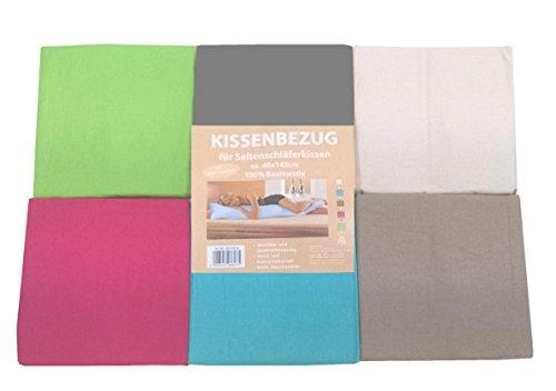 Bezug für Seitenschläferkissen aus Baumwolle ca. 40x145 mit RV Taupe / Hellbraun