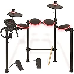 ION Audio Redline Drums Illuminated USB Electronic Drum Kit with Drumsticks and Headphones Included