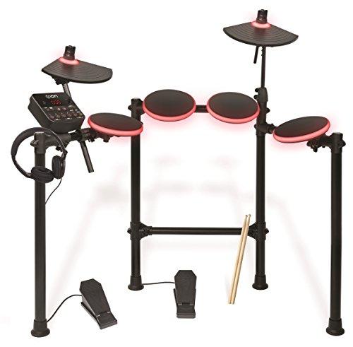 elektronisches schlagzeug fuer anfaenger ION Audio Redline Drums   Beleuchtetes elektronisches Schlagzeug mit über 200 verschiedenen Drum und Becken Sounds - inkl. Drumsticks und Kopfhörern