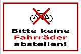 Schild - Bitte keine Fahrräder abstellen - 30x20cm mit Bohrlöchern | stabile 3mm starke PVC Hartschaumplatte – S00050-049-B +++ in 20 Varianten erhältlich
