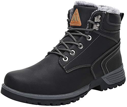 Mishansha Stivali da Neve Donna Uomo Scarpe da Trekking Invernali Stringate Stivaletti Scarpe Impermeabile Outdoor Sneakers St.2 Nero 37 EU
