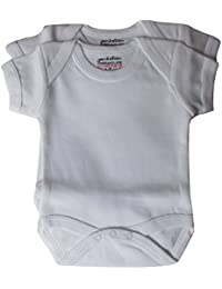 Premature Baby,Tiny Baby, Early Baby, Pack of 2 White Body Suits, (Premature)